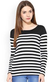Raabta Fashion Black and White Strip Polycotton T-Shirt