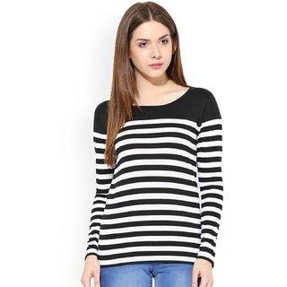 fa9c37b90e51b Buy Raabta Fashion Black and White Strip Polycotton T-Shirt Online - Get  67% Off