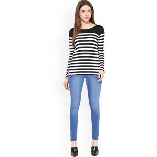 5cca549166463 Raabta Fashion Black and White Strip Polycotton T-Shirt
