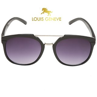 Louis Geneve Stylish  Fashionable Men's Sunglass With Black Silver Frame  Black Lens.