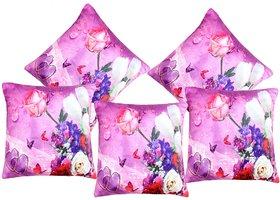 AS Set of 5 3D Printed Pink flowers Digital Cushion Covers