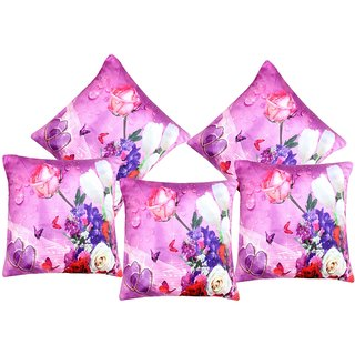 AS Set of 5 3D Printed Pink flowers Digital Cushion Covers