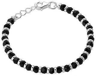 Shiyara Jewells 92.5 Sterling Silver Black Bead Crystal Nazariya for kids NZ00002