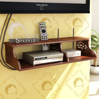 Home Sparkle Wooden Carved Set Top Box Holder