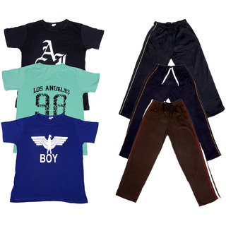 Indiweaves Boys Super Soft Cotton Lower And Half Sleeves Printed T-Shirts Combo (Pack Of 3 Lower And 3 T-Shirts)