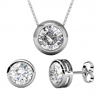 Shiyara Jewells 92.5 Sterling Silver round Solitaire Pendant Set with Chain NL07008C