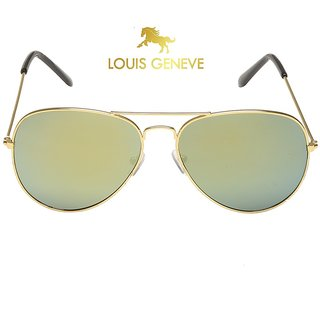 Louis Geneve Stylish  Fashionable Men's Sunglass With Golden Frame  Green Lens