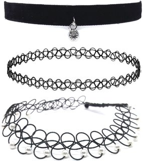3 Pieces Black Tattoo Choker Necklace Stretch Gothic Tattoo Henna Elastic Choker Necklace Set