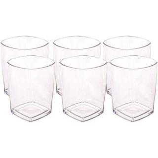 TRUENOW Ventures Pvt. Ltd. Unbreakable Crystal Clear 300ml Drinking Glasses Set of 6 Pcs (Transparent)