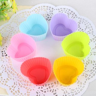 SMB Silicone Heart Shape Cupcake Mould- Set of 6pieces