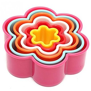 SMB Plastic Flower Shape Cookie Cutter- 5in1