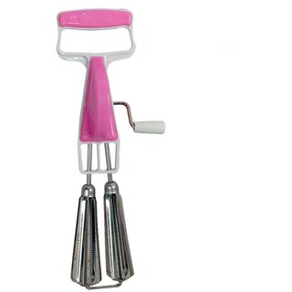 Kitchenware Hand Twist Beater Stainless Steel Egg Lassi Beater Butter Milk Maker Mixer Hand Blender (Pink)