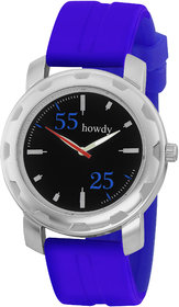 Howdy Black Dial With Blue Silicone Strap Mens Analog W