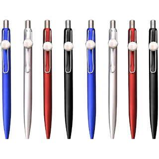 Metal Look Plastic Ball Pen with Round Badge Set of 8pc