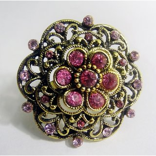 Gold Plated, Pink Crystal & Oxidized Woman's Finger Ring
