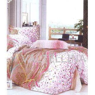 Valtellina Ribbon Print 1 Double Bed Sheet & 2 Pillow Covers (PRF3B-5)
