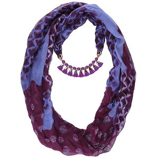 California Printed Bell Gold And Purple Necklace scarf Pendant scarf Stole Muffler PS302PrtBlGPrp