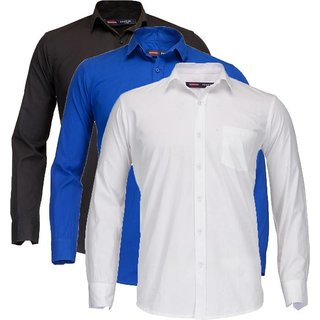 Solid Casual Multicolor Shirt  (Pack of 3)