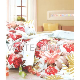 Valtellina Red Flower Print 1 Double Bed Sheet  2 Pillow Covers (PRF3B-21)