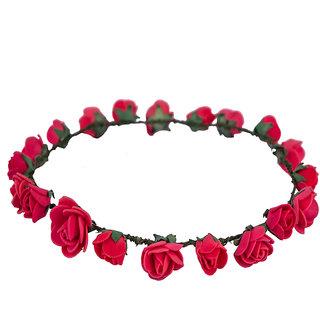 Style Tweak Red Floral Tiara Princess Crown