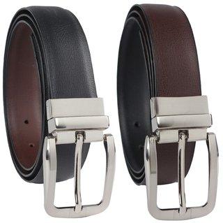 Tahiro Black Leather Casual Reversible Belt - Pack Of 2