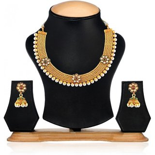 Jewels Gehna Alloy Party Wear  Wedding Latest Stylish Golden Necklace Set With Earring For Women  Girls