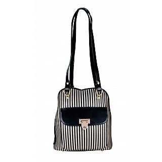 Black and Golden Rexine Shoulder Bag