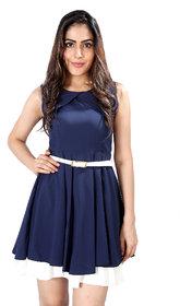 Blue Polyester Short Dress