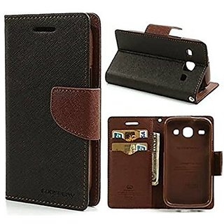 Mercury Diary Wallet Style Flip Cover Case For Redmi Note 4 - Black  Brown by Mobimon