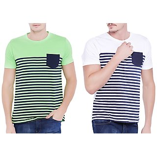 Stylogue Men'S Green & White Round Neck T-Shirt(Pack Of 2)