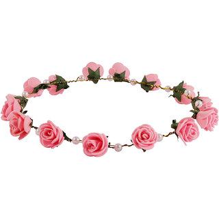 Style Tweak Pink Floral and Pearl Tiara Princess Crown