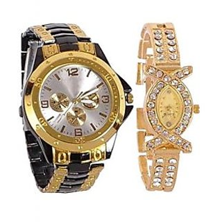 Couple Watch Collection Attractive Men's And Woman GoldenBlackAks