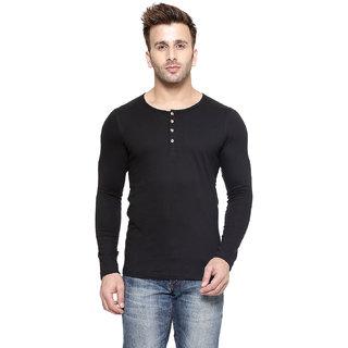 Gespo Black Henley Summer Tshirt For Men