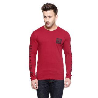 Gespo Red Round Neck Summer Tshirt For Men
