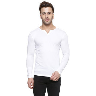 Gespo White Round Neck Summer Tshirt For Men