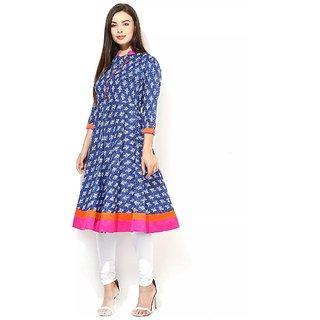 Women's Cotton Blue Printed Stitched Anarkali  kurti