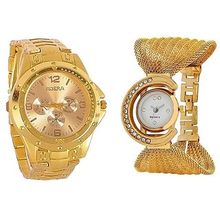 Couple Watch Collection Attractive Men's And Woman GoldenRosraJula