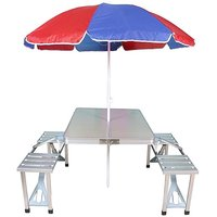 Aluminum folding type 4 seater picnic table with free umbrella
