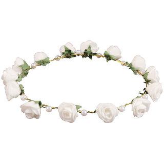 Style Tweak White Floral and Pearl Tiara Princess Crown