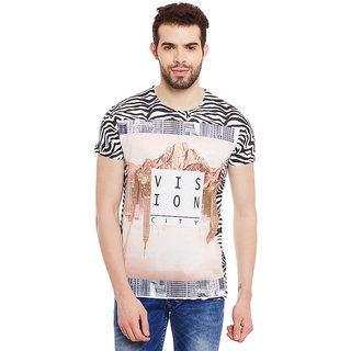 Wear Your Mind Multicolour Polyester Printed Tshirt For Men
