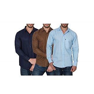 Balino London Pack of 3 Printed Poly-Cotton Shirts For Men