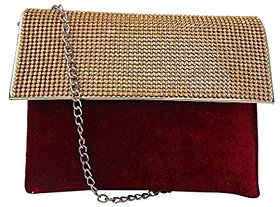 Bagizaa Red Silk Sling Bag For Women With Zip Closure ,Adjustable Strap