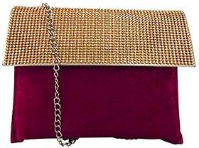 Bagizaa Pink Velvet,Silk Sling Bag For Women With Zip Closure ,Adjustable Strap