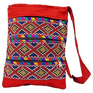 Bagizaa Salmon Cloth-Canvas Sling Bag For Women With Zip Closure ,Adjustable Strap