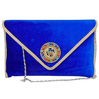 Bagizaa Blue Velvet,Silk Sling Bag For Women With Zip Closure ,Adjustable Strap