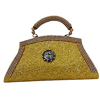 Bagizaa Golden Silk Clutch For Women With Lock Closure ,Fixed Strap