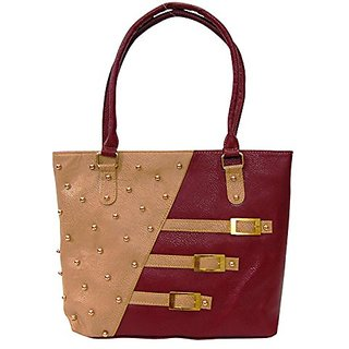 Bagizaa Maroon PU Handbag For Women With Zip Closure ,Fixed Strap