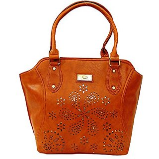 Bagizaa Chocolate PU Handbag For Women With Zip Closure ,Fixed Strap