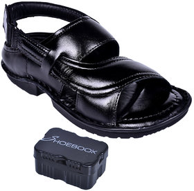 Shoebook Men's Black Leather Sandals