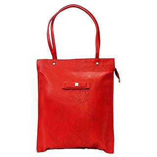 Bagizaa Red PU Handbag For Women With Zip Closure ,Fixed Strap